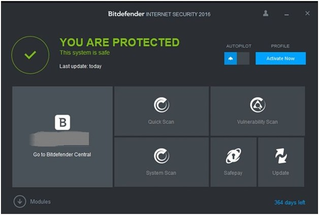 bitdefender internet security 2016 home screen